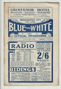 Manchester City V Luton Town Rare FA Cup Fourth Round Programme 1935/36