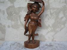mujer de madera tallado en 62cm Hecho a mano Asiática Estatua Escultura
