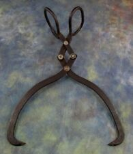 """Vintage Cast Iron Ice Tongs Log Grabber 13""""  Double Jointed"""