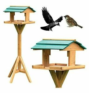 FREE STANDING TRADITIONAL WOODEN BIRD TABLE GARDEN BIRDS FEEDER FEEDING STATION