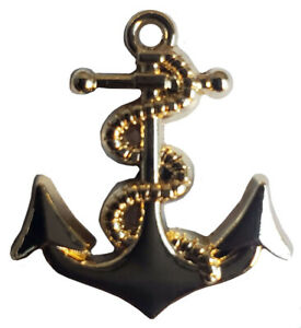 Pack of 12 Gold Anchor Motorcycle Hat Cap Lapel Pin