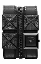 KARL LAGERFELD CHANEL PYRAMID ROCKSTUD DOUBLE ZIP LEATHER CUFF STONE GUN WATCH