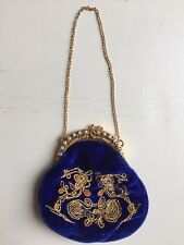 "Vintage ""Putting on the Ritz Blue Embroidered Coin Purse Popular Imports Handbag"
