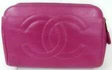 Auth CHANEL Caviar skin CC logo Quilted Cosmetic Makeup Vanity Pouch Pink France