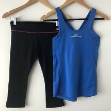 LORNA JANE Size Extra Small x 2 Blue Crossover Tank Top Black 3/4 Work It Tights