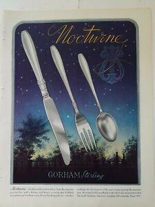 1938 Gorham sterling silver silverware Nocturne pattern vintage color ad