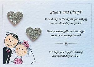 10 Personalised Wedding Thank You Cards - Glitter Hearts And Free Envelopes