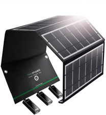 RAVPower UK RP-PC005B Solar Charger 24W Solar Panel with Triple USB Ports for