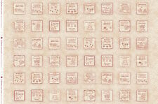 """Maywood In Stitches Robin-isms 4"""" Squares Panel ~ Redwork Quilting Sewing Fabric"""