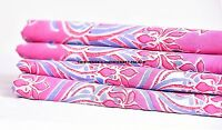 5 Yard Indian Cotton Decor Dressmaking Sewing Craft Pink Floral Printed Fabric