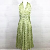 Maggy London Womens Size 8 Fit & Flare Dress Green Silk Halter Dress $178 New