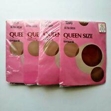 Vintage Tenac Ultra Sheer Queen Size Panty Hose Set of 4 Reinforced Toes Coffee