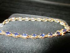 14K YELLOW GOLD OVAL BLUE SAPPHIRE TENNIS BRACELET 7.25""
