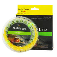 WF 2/3/4/5/6/7/8/9F Gold Fly Line Double Color Fly Fishing Line & 2 Welded Loop