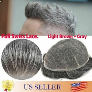 100%Human Hair Replacement Mens Toupee Hairpieces Full SWISS LACE Basement Wigs