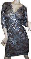 NWT TADASHI SHOJI Grey Sequin Embroidered LACE V-Neck 3/4 Sleeve DRESS size - 8