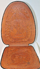 Leather Seat Cushion, Hand Tooled Leather for Auto Truck or Desk Chair El