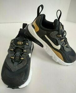 Nike Air Max 270 React RT Toddler 7C Gold Black Sneaker Shoes CD2654-005