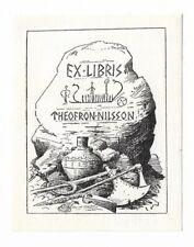 OSKAR KNUDSEN: Exlibris für Theofron Nilsson, Wikingerschiff, 1962