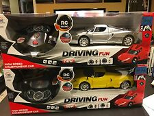 New 1/12 Scale Yellow Ferrari ENZO RC Car W/Stering Wheel Controller (Yellow)