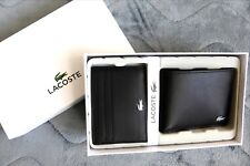 LACOSTE Leather BILLFOLD WALLET & CARD HOLDER Black New In Box TOP QUALITY