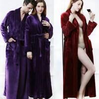 Womens Mens Winter Long Pajamas Warm Flannel Sleepwear Bathrobe Night-robe Robe
