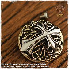 Boka Stark Cross Concho Sterling Silver 925 Brass Biker Trucker Wallet Custom