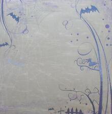 "12X12"" Scrapbook Paper Double Sided Embossed Glitter Halloween Spooky Tree"