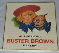 "Vintage Authorized Buster Brown Dealer Pressed Wood Countertop Sign 14"" X 14.5"""