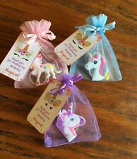 6 Unicorn key chain party favor in organza bag