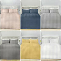 Serene WAFFLE STRIPE Striped Duvet Cover Set Bedding Quilt All Sizes Grey White