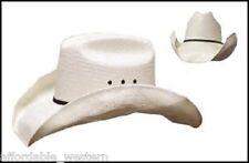 "Cowboy STOMPER Hat - Western Shantung STRAW - 4"" Brim Rodeo, River, Brad Paisley"