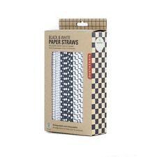 Kikkerland Black & White Geometric Design Paper Straws - Box of 144
