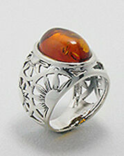 9.4g Solid Sterling Silver Genuine Natural AAA Cabochon Baltic Amber Ring Size 8