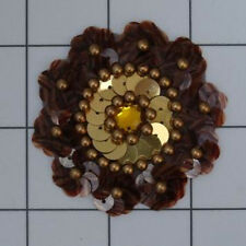 TORTOISE BROWN GOLD SEQUIN BEADED FLOWER APPLIQUE  2421-D