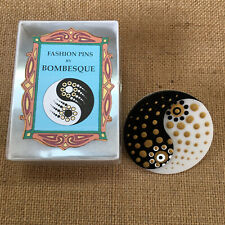 Hand Painted Detail Brooch Pin Ying Yang Bombesque Acrylic Designer