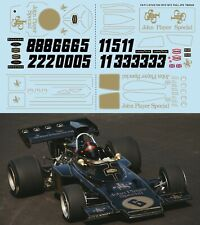 1/8 DECALS  F1 LOTUS 72D 1972 1973  Fittipaldi Peterson FULL JPS DECAL TBD544