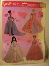 Vintage Barbie Static Cling Window Decorations,4 Reusable 1998 Paper Magic
