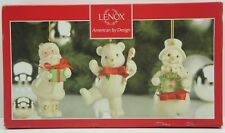 *New* Lenox Tied With Cheer Set 3 Ornaments Santa Snowman Teddy Bear $60 Retail
