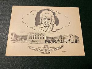 1955 United Nations Postcard Premiere Conference Atomique Geneve / Geneva White