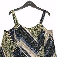 M&S Marks s6 Limited Green Tile Print Strappy Cold Shoulder Skater Dress BNWOT