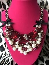 Betsey Johnson Fabulous Fuchsia HUGE Pink Jeweled Pearl Crystal AB Necklace RARE