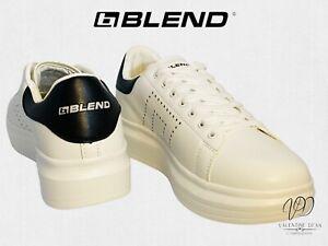 Blend Men's Trainers Blend FTWR White & Black Court Trainers Size 10.5 Uk / 45