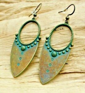 Indian Antique Boho Style Gold Effect & Turquoise Cutout Pointed Earrings 5cm