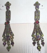 Kirks Folly Art Deco Antique-Style Long Crystal Chandelier Dangle Post Earrings