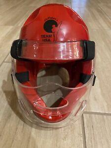 Century Red Foam Sparring Helmet w/ Mask Medium / Large M/L Team USA