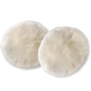 2x Round Faux Fur Seat Cushion Artificial Sheepskin Floor Rug Car Mat Pad