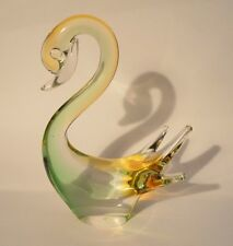 """VINTAGE RARE CHALET CANADA @ 6.75 """" GREEN and YELLOW - SWAN -  Etch  - Signed"""