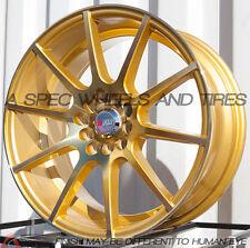 17x8 +35 F1R F17 5X114.3 MACHINE GOLD WHEEL Fits 370Z G37 Civic Prelude Wrx Sti