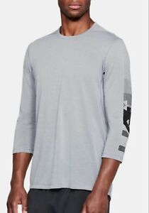 Under Armour Men's Steel Gray UA Podium Utility 3/4 Sleeve Crewneck Fitted Shirt